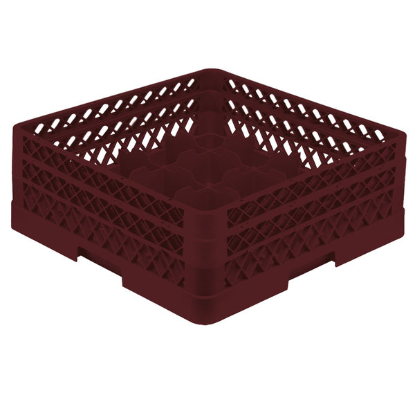 "Vollrath TR8DA Traex® Full-Size Burgundy 16-Compartment 6 3/8"" Glass Rack with Open Rack Extender On Top"