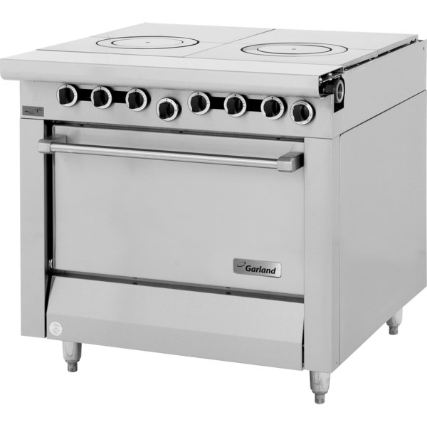 """Garland M45S Master Series Liquid Propane 2 Section Front Fired Hot Top 34"""" Range with Storage Base - 66,000 BTU"""