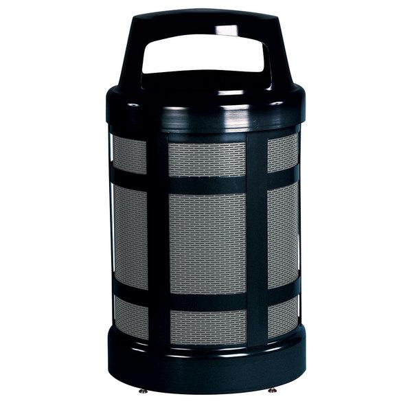 Rubbermaid FGA38ABZPL Architek Canopy Top Black Steel Waste Container with Rigid Plastic Liner 38 Gallon