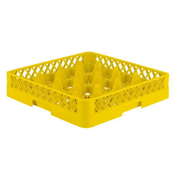 """Vollrath TR8 Traex® Full-Size Yellow 16-Compartment 3 1/4"""" Glass Rack"""