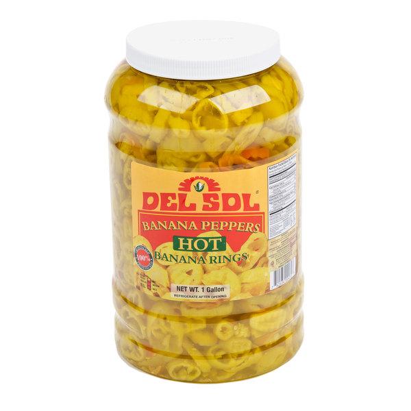 Del Sol 1 Gallon Hot Banana Peppers - 4/Case