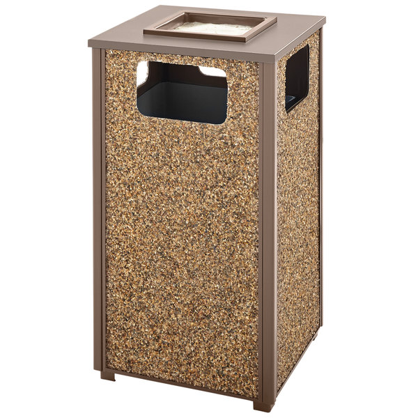 Rubbermaid FGR18SU201PL Aspen Ash/Trash Brown with Desert Brown Stone Panels Square Steel Waste Receptacle with Rigid Plastic Liner 24 Gallons