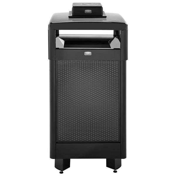 Rubbermaid FGR36HTWU500PL Dimension 500 Series Hinged-Top Black with Anthracite Perforated Steel Panels Square Steel Waste Receptacle with Weather Urn and Rigid Plastic Liner 29 Gallon
