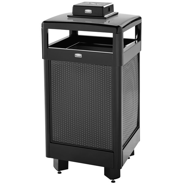 Rubbermaid FGR36HTWU500PL Dimension 500 Series Hinged-Top Black with  Anthracite Perforated Steel Panels Square Steel Waste Receptacle with  Weather Urn