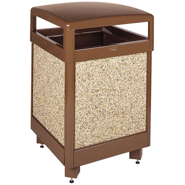 Rubbermaid FGR38HT201PL Aspen Hinged-Top Brown with Desert Brown Stone Panels Square Steel Waste Receptacle with Rigid Plastic Liner 38 Gallon