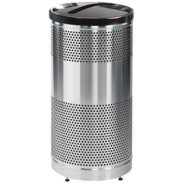 Rubbermaid FGS3SSPBKPL Classics Round Steel Paper Recycling Container with Black Lid and Rigid Plastic Liner 25 Gallon Main Image 1