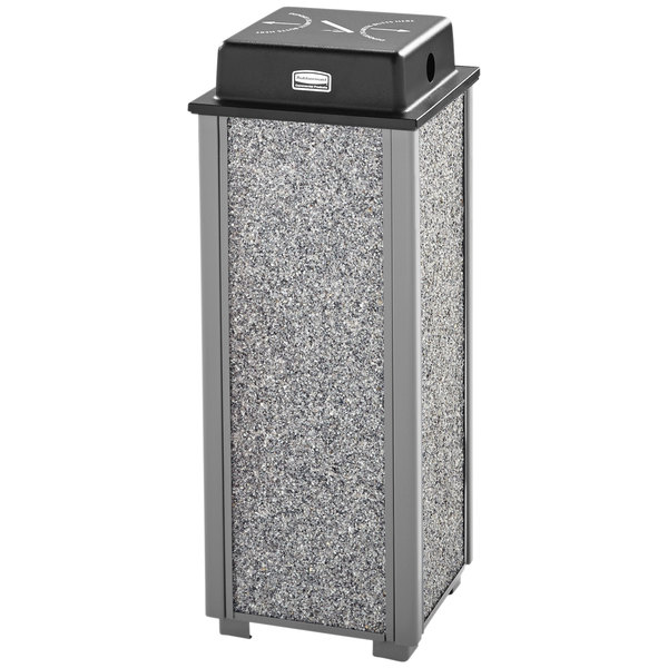 Rubbermaid FGR40WU2000 Aspen Gray with Dove Gray Stone Panels Square Steel Cigarette Receptacle with Weather Shield Main Image 1