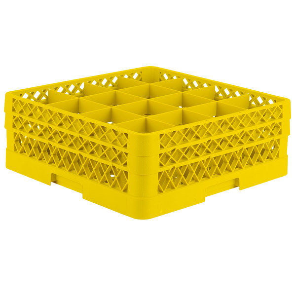 """Vollrath TR8DD Traex® Full-Size Yellow 16-Compartment 6 3/8"""" Glass Rack"""