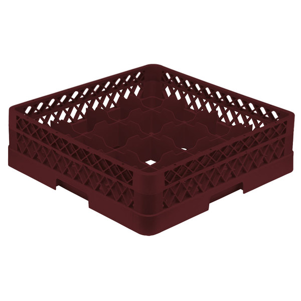 """Vollrath TR8A Traex® Full-Size Burgundy 16-Compartment 4 13/16"""" Glass Rack with Open Rack Extender On Top"""