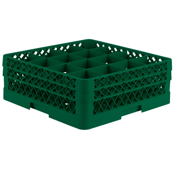"Vollrath TR8DD Traex® Full-Size Green 16-Compartment 6 3/8"" Glass Rack"