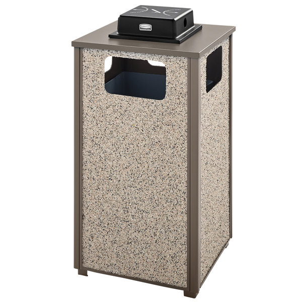 Rubbermaid FGR18WU6000PL Aspen Ash/Trash Architectural Bronze with Glacier Gray Stone Panels Square Steel Waste Receptacle with Weather Urn and Rigid Plastic Liner 24 Gallons