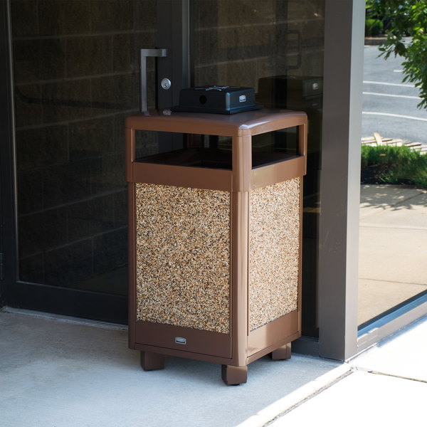 Rubbermaid FGR36HTWU201PL Aspen Hinged-Top Brown with Desert Brown Stone Panels Square Steel Waste Receptacle with Weather Urn and Rigid Plastic Liner 29 Gallon