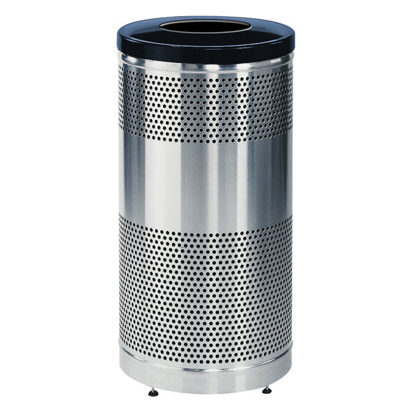 Rubbermaid FGS3SSTBKPL Classics Round Stainless Steel Drop Top Waste Receptacle with Black Lid, Levelers, and Rigid Plastic Liner 25 Gallon Main Image 1