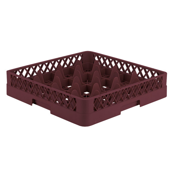 "Vollrath TR8 Traex® Full-Size Burgundy 16-Compartment 3 1/4"" Glass Rack"