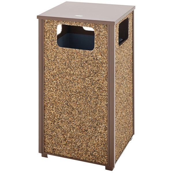 Rubbermaid FGR18201PL Aspen Flat-Top Brown with Desert Brown Stone Panels Square Steel Waste Receptacle with Rigid Plastic Liner 24 Gallon