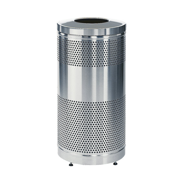 Rubbermaid FGS3SSTSSPL Classics Round Stainless Steel Drop Top Waste Receptacle with Stainless Steel Lid, Levelers, and Rigid Plastic Liner 25 Gallon Main Image 1