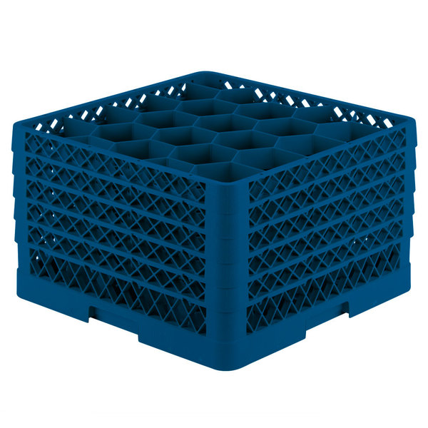 """Vollrath TR11GGGGA Traex® Rack Max Full-Size Royal Blue 20-Compartment 11 7/8"""" Glass Rack with Open Rack Extender On Top Main Image 1"""