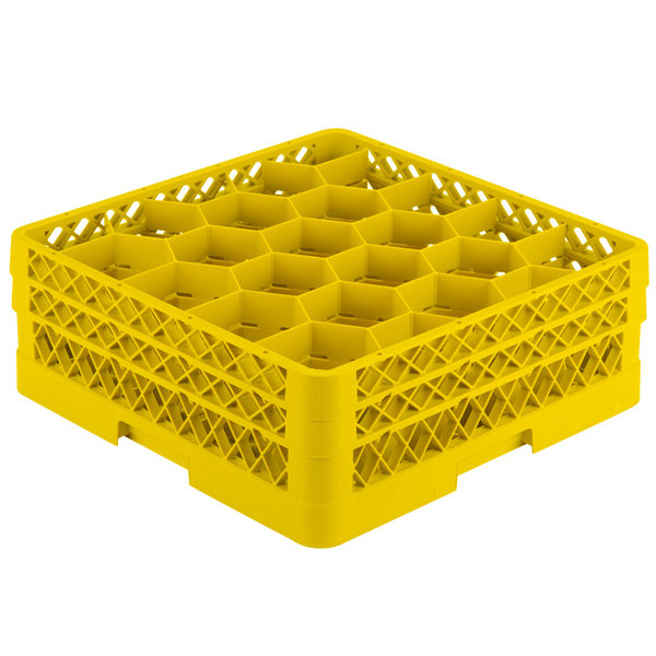 """Vollrath TR11GA Traex® Rack Max Full-Size Yellow 20-Compartment 6 3/8"""" Glass Rack with Open Rack Extender On Top Main Image 1"""