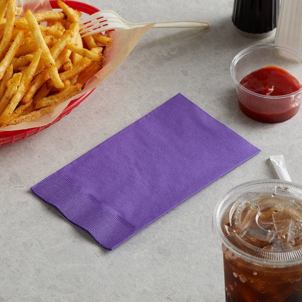 "Choice 15"" x 17"" Customizable Purple 2-Ply Paper Dinner Napkin - 125/Pack Main Image 3"