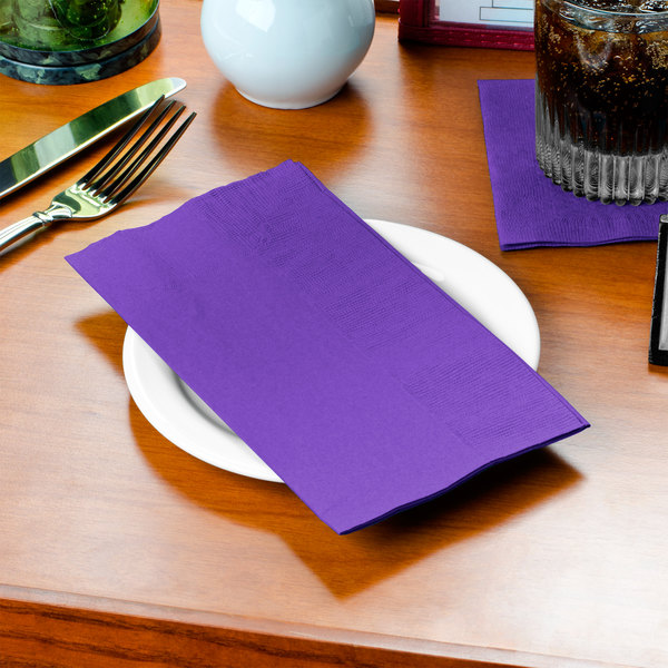 "Purple Paper Dinner Napkin, Choice 2-Ply, 15"" x 17"" - 125/Pack"