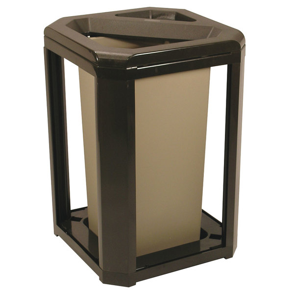 Rubbermaid FG396600SBLE Landmark Series Classic Container Sable Square Polycarbonate Ash/Trash Frame with FG356900 Rigid Plastic Liner 20 Gallon