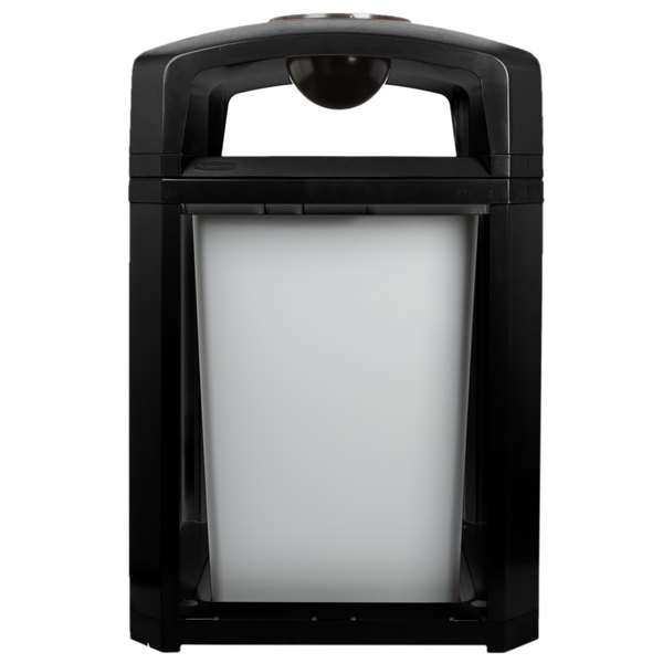 Rubbermaid FG397001BLA Landmark Series Classic Container Black Square Polycarbonate Dome Top Frame with Ashtray and FG395800 Rigid Plastic Liner 35 Gallon Main Image 1