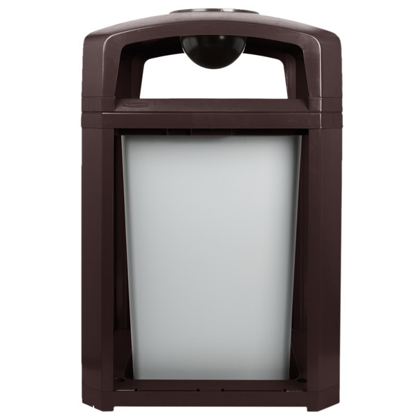 Rubbermaid FG397001SBLE Landmark Series Classic Container Sable Square Polycarbonate Dome Top Frame with Ashtray and FG395800 Rigid Plastic Liner 35 Gallon Main Image 1