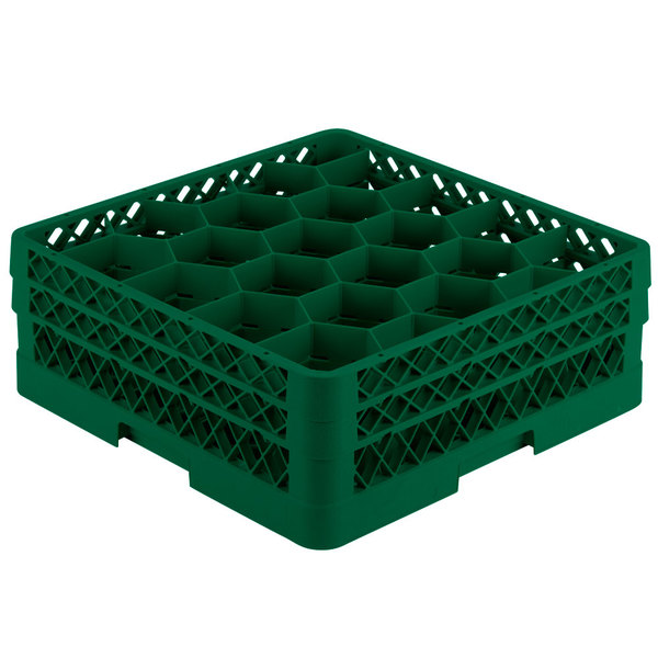 """Vollrath TR11GA Traex® Rack Max Full-Size Green 20-Compartment 6 3/8"""" Glass Rack with Open Rack Extender On Top"""