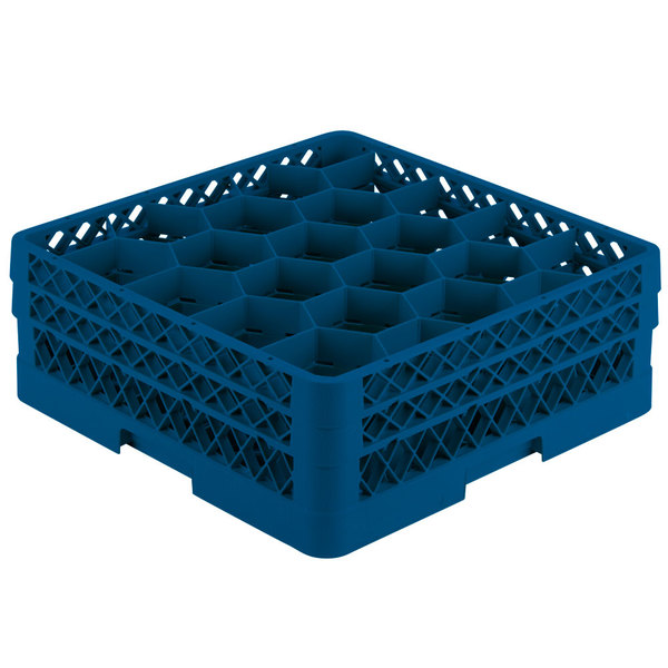 """Vollrath TR11GG Traex® Rack Max Full-Size Royal Blue 20-Compartment 6 3/8"""" Glass Rack"""