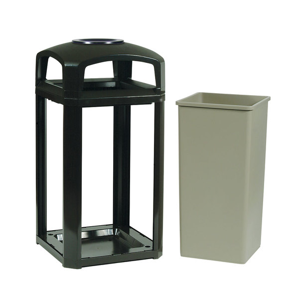 Rubbermaid FG397501BLA Landmark Series Classic Container Black Square Polycarbonate Dome Top Frame with Ashtray and FG395900 Rigid Plastic Liner 50 Gallon