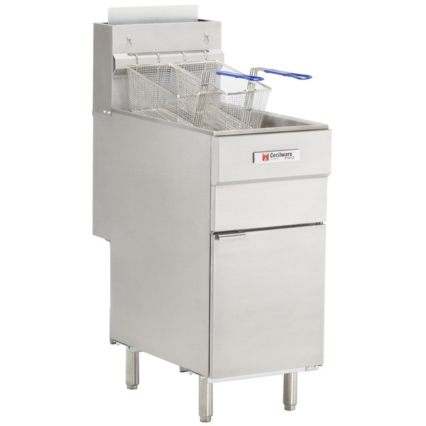Cecilware Pro FMS504 Liquid Propane Four Tube Floor Fryer - 120,000 BTU
