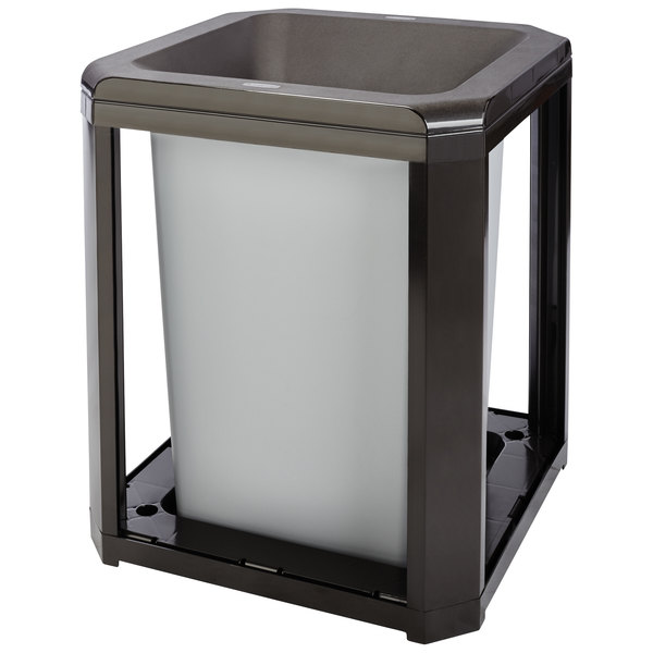 Rubbermaid FG397200SBLE Landmark Series Classic Container Sable Square Polycarbonate Funnel Top Frame with FG395800 Rigid Plastic Liner 35 Gallon Main Image 1