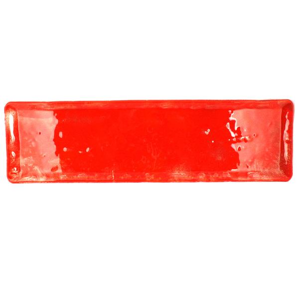 "10 Strawberry Street HD2714RO Izabel Lam Heirloom 5"" x 13 1/2"" Red Glass Rectangular Platter - 12/Case"
