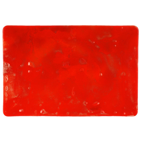 "10 Strawberry Street HD922RO Izabel Lam Heirloom 8"" x 12"" Red Glass Rectangular Plate - 12/Case"