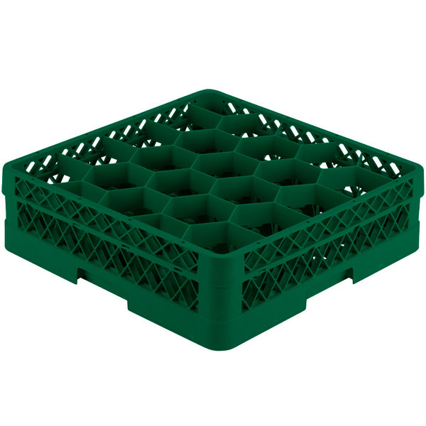 "Vollrath TR11A Traex® Rack Max Full-Size Green 20-Compartment 4 13/16"" Glass Rack with Open Rack Extender On Top"
