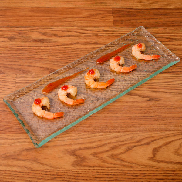 "10 Strawberry Street HD2714OC Izabel Lam Morning Tide 5"" x 13 1/2"" Ocean Clear Glass Rectangular Platter - 12/Case"