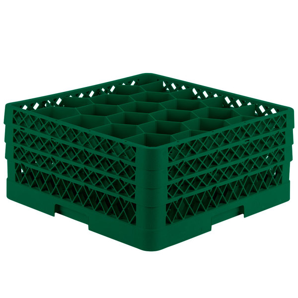 "Vollrath TR11GGA Traex® Rack Max Full-Size Green 20-Compartment 7 7/8"" Glass Rack with Open Rack Extender On Top Main Image 1"