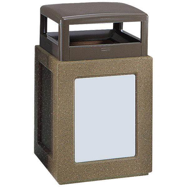 Rubbermaid FGKSR368000PL Keystone Series Hinged-Top Architectural Bronze with Sierra Brown Concrete Steel Square Waste Receptacle with Rigid Plastic Liner 29 Gallon Main Image 1
