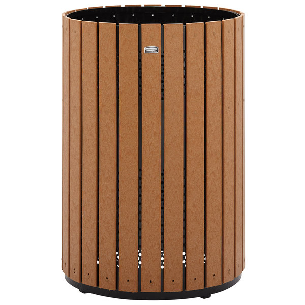 Rubbermaid FGH55C Towne Series Cedar Free-Standing Container with Drain Holes 63 Gallon