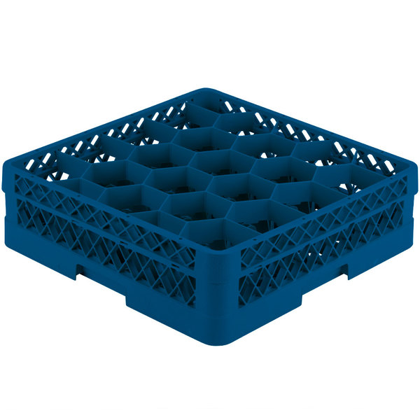"""Vollrath TR11A Traex® Rack Max Full-Size Royal Blue 20-Compartment 4 13/16"""" Glass Rack with Open Rack Extender On Top"""