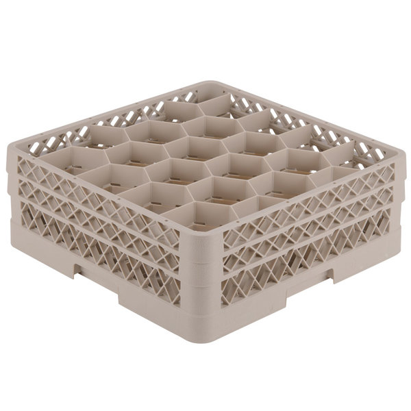 """Vollrath TR11GG Traex® Rack Max Full-Size Beige 20-Compartment 6 3/8"""" Glass Rack Main Image 1"""