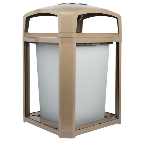 Rubbermaid FG397001DWOOD Landmark Series Classic Container Driftwood Square Polycarbonate Dome Top Frame with Ashtray and FG395800 Rigid Plastic Liner 35 Gallon