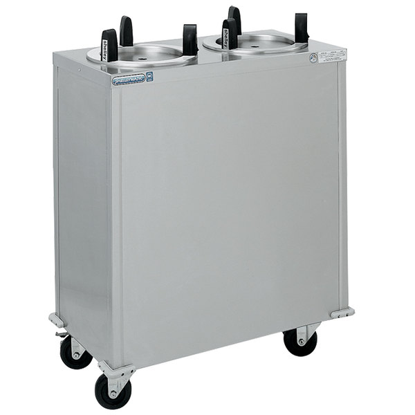 "Delfield CAB2-913ET Even Temp Mobile Enclosed Two Stack Heated Dish Dispenser / Warmer for 8 1/8"" to 9 1/8"" Dishes - 120V"