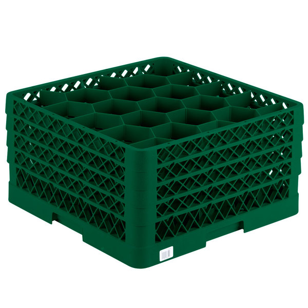 "Vollrath TR11GGGG Traex® Rack Max Full-Size Green 20-Compartment 9 7/16"" Glass Rack"