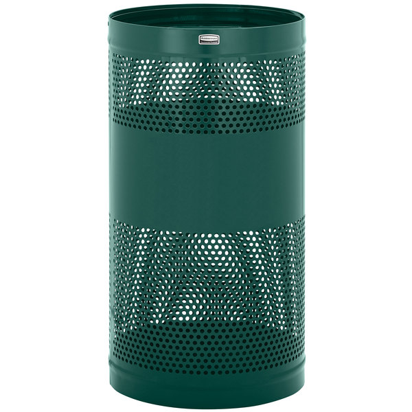 Rubbermaid FGH3EGN Towne Series Empire Green Perforated Steel Free-Standing Container with Drain Holes and Security Chain Holes 34 Gallon