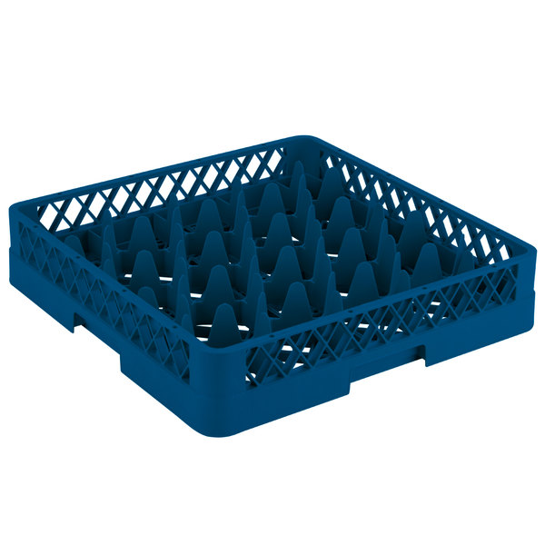 """Vollrath TR11 Traex® Rack Max Full-Size Royal Blue 20-Compartment 3 1/4"""" Glass Rack"""