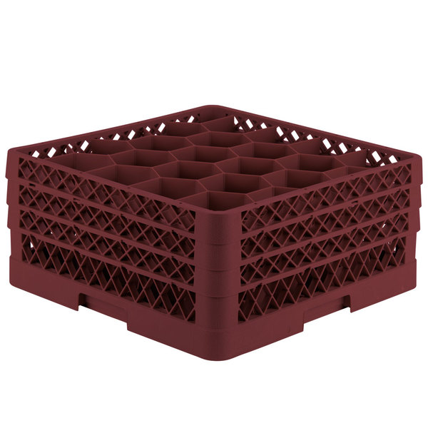 "Vollrath TR11GGG Traex® Rack Max Full-Size Burgundy 20-Compartment 7 7/8"" Glass Rack"