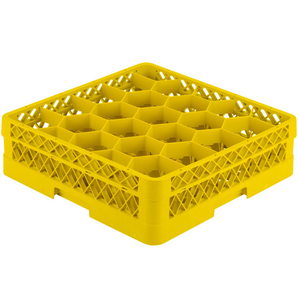 """Vollrath TR11G Traex® Rack Max Full-Size Yellow 20-Compartment 4 13/16"""" Glass Rack Main Image 1"""
