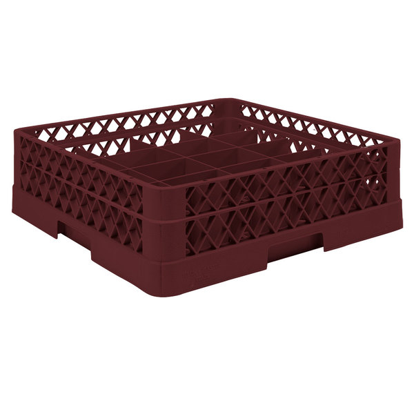 """Vollrath TR6A Traex® Full-Size Burgundy 25-Compartment 4 13/16"""" Glass Rack with Open Rack Extender On Top"""