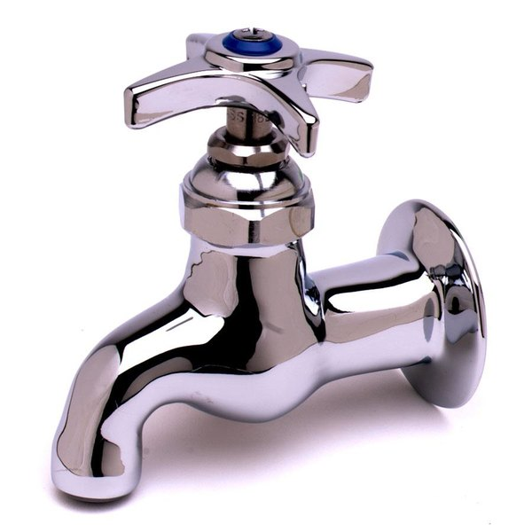 T&S B-0700-LT-CR-K Wall Mount Single Temperature Sill Faucet with Cerama Cartridge and Four Arm Handle